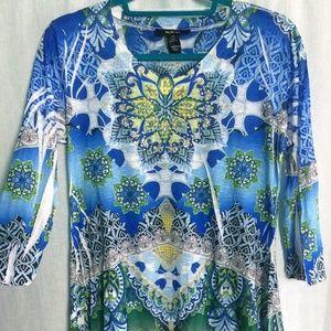 Hi-Low Shirt Rhinestone Multicolor  3/4 Sleeve Top